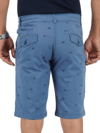 CERULEAN FROST PRINTED SHORTS WITH BRAND EMBROIDERY