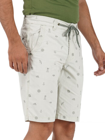 MID-RISE PRINTED SHORTS WITH BRAND EMBROIDERY