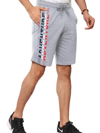 MEN'S KNITTED SOLID SHORTS WITH GRAPHIC PRINT